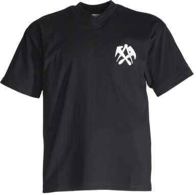 DACHDECKER-T-Shirt schwarz V-Ausschnitt, JOB