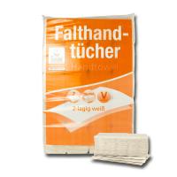 Falthandtuch 2-lagig, weiß (RC), V-Falz, 24 x 22 cm, 3200 Blatt / VE