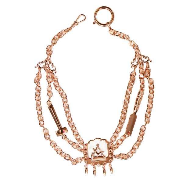Tischler Schreiner Perlmutterkette - Zunft-Schmuckkette, rose vergoldet